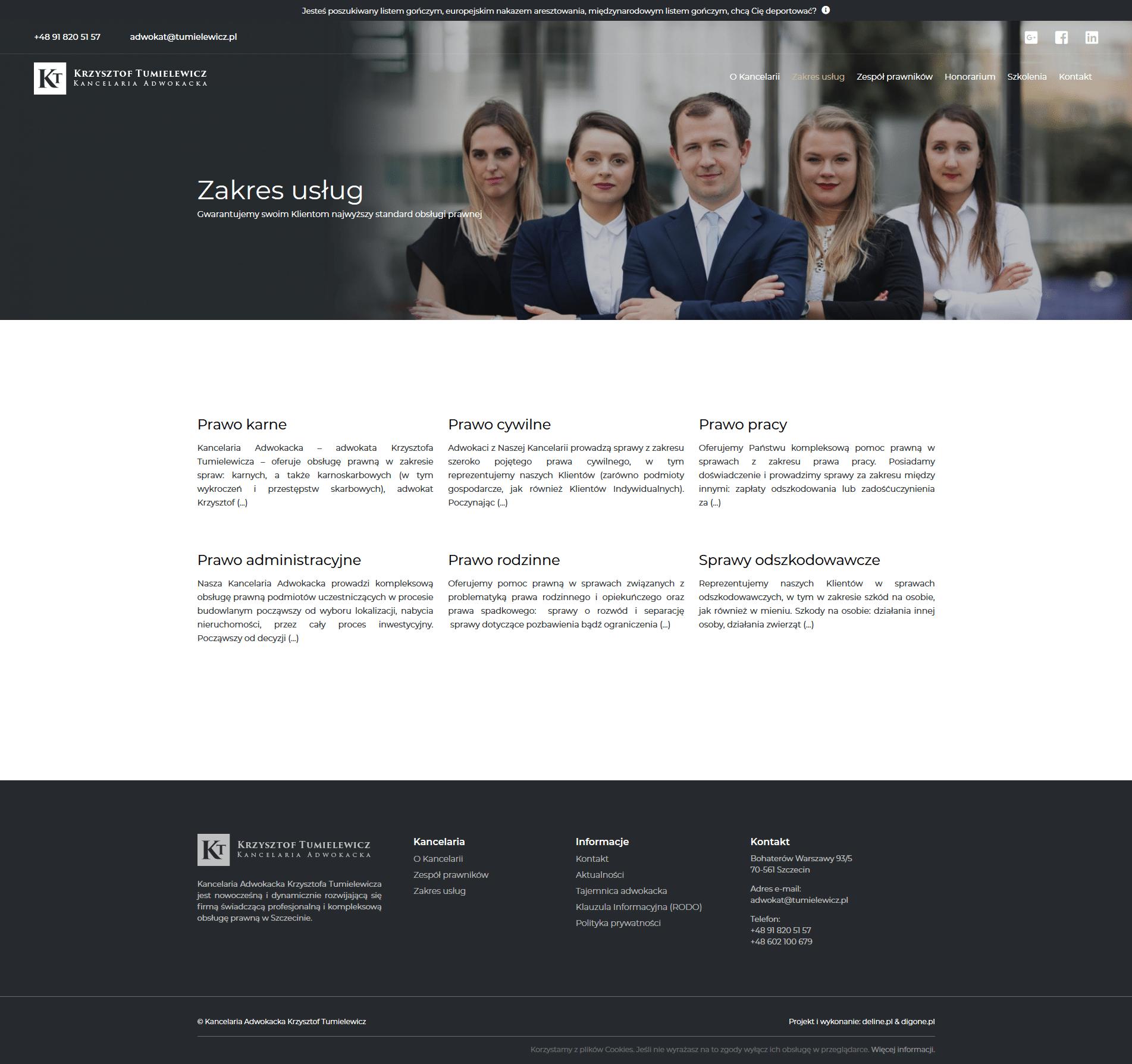 adwokat strona internetowa kancelaria adwokacka