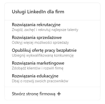 company page na LinkedIn